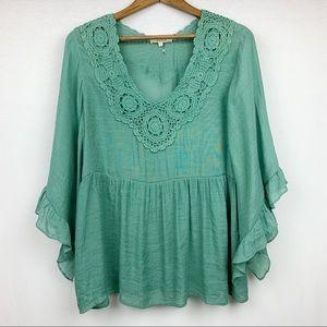 entro Boho Green Embroidered Ruffle Sleeve Blouse
